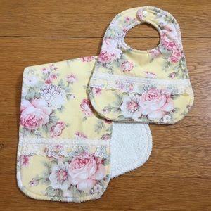 NWOT Handmade Girl's Bib & Burp Cloth Set